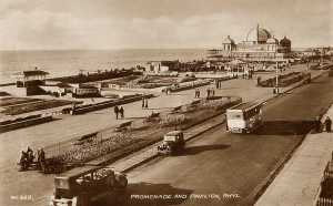 Rhyl Prom and Pavilion in the late 1930's - with vintage cars and bus