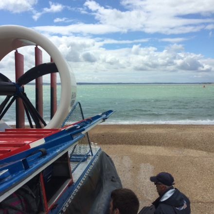 Boarding the hovercraft at Southsea