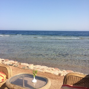 The view from the restaurant over the Gulf of Aqaba across to Saudi Arabia.